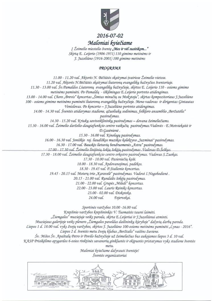 Kvietimas į Žeimelio miestelio šventę 2016 ir šventės programa
